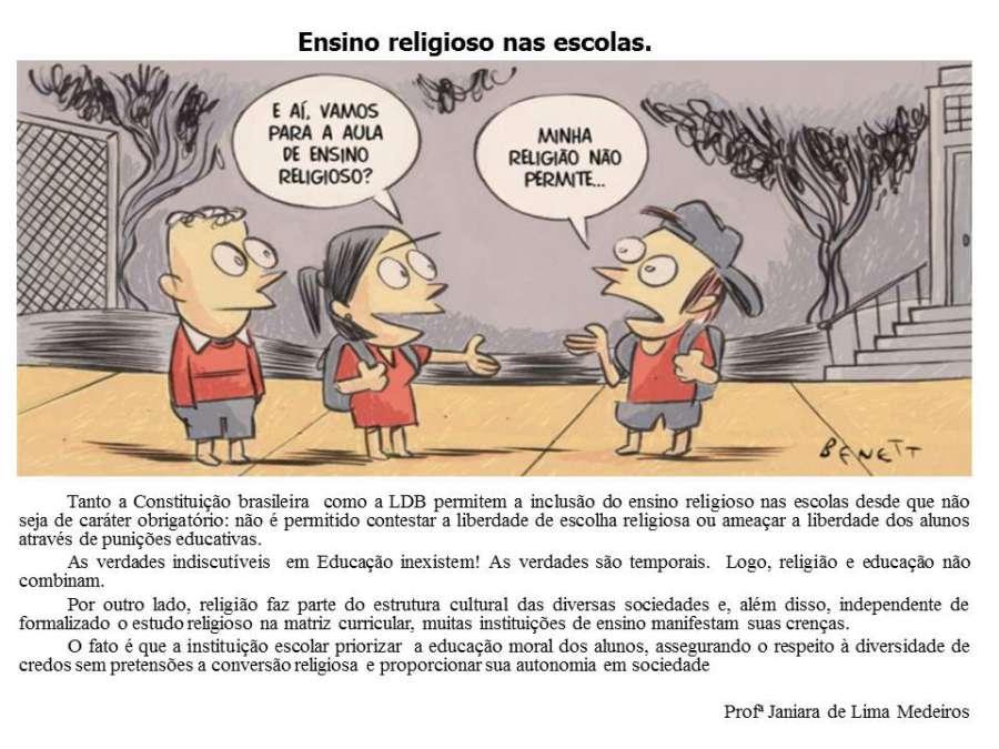 Ensino religioso nas escolas Janiara de Lima Medeiros
